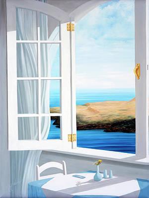 Painting - Breakfast In Santorini - Prints Made From Original Oil Painting by Mary Grden Fine Art Oil Painter Baywood Gallery
