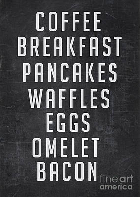 Diners Digital Art - Breakfast List by Edward Fielding