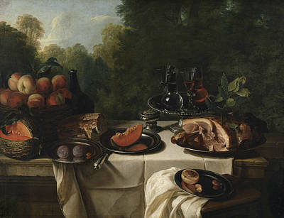 Painting - Breakfast Piece With Ham by Alexandre-Francois Desportes