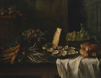 Painting - Breakfast Piece With Oysters by Alexandre-Francois Desportes