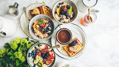 Breakfast Porridge Waffles Fruit 115145 1920x1080 Art Print