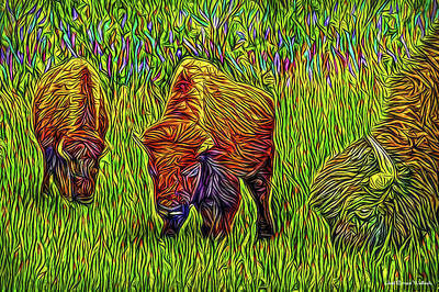 Digital Art - Breakfast With Buffalo by Joel Bruce Wallach