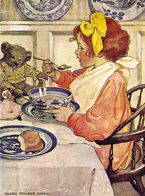 Breakfast With Teddy Art Print by Jessie Wilcox Smith