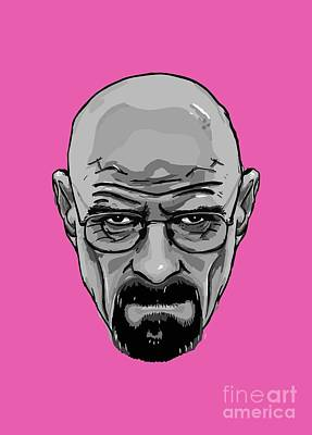 Breaking Bad Amc Heisenberg Walter White Portrait Black And White Art Print by Paul Telling