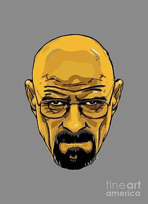 Breaking Bad - Amc  Heisenberg  Walter White  Portrait  Yellow Art Print by Paul Telling