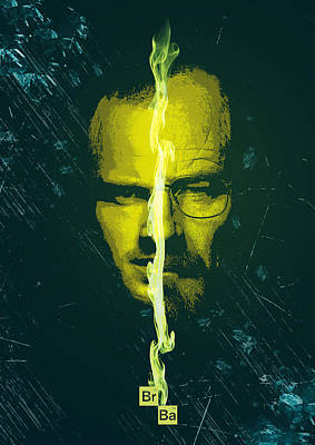 Digital Art - Breaking Bad Poster Heisenberg Print Walter White And Jesse Pinkman Portrait Wall Decor by IamLoudness Studio