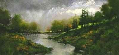 Lakes Wall Art - Painting - Breaking Clouds by Jim Gola
