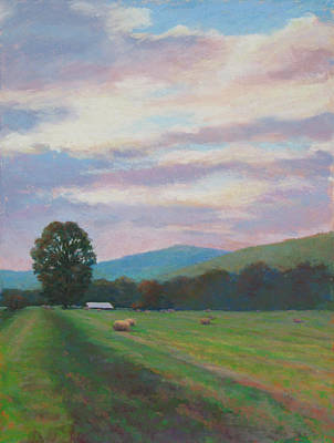 Haybales Painting - Breaking Clouds by Marsha Savage