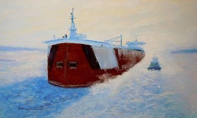 Speer Painting - Breaking Ice For The Edgar B. Speer In Sturgeon Bay by Bethany Kirwen