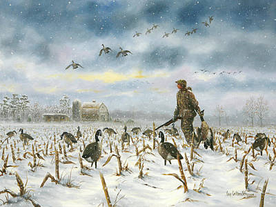 Snow Geese Painting - Breaking Storm by Guy Crittenden