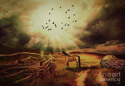 Country Dirt Roads Mixed Media - Breaking Sun by KaFra Art