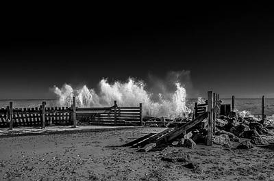 Greenman Photograph - Breaking Surf Happisburgh Beach Norfolk.  A Dramatic Black And W by Lee Thornberry
