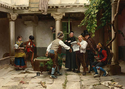 Painting - Breaking The News by Jules Worms