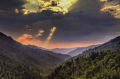 Mountain Royalty-Free and Rights-Managed Images - Breaking Thru at Sunset by Andrew Soundarajan
