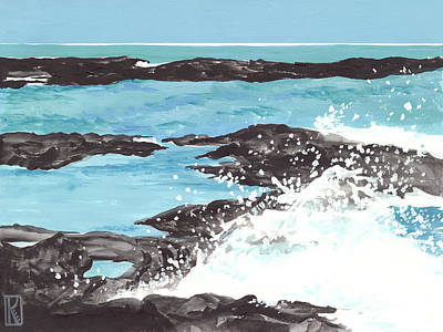 Painting - Breaking Wave On Lava Rock by Karen Dyson