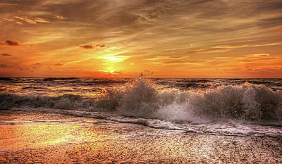 Photograph - Breaking Waves At Sunrise by Movie Poster Prints
