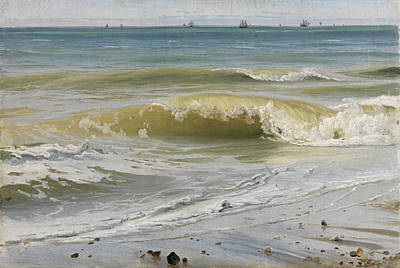 Painting - Breaking Waves With Distant Ships by Johann Wilhelm Schirmer
