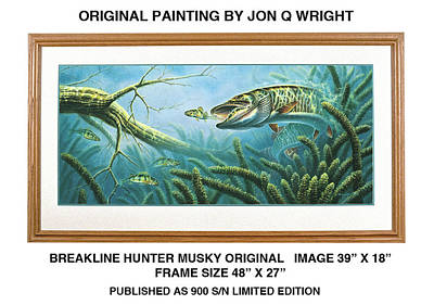 Muskies Painting - Breakline Hunter Musky by Jon Q Wright