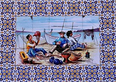Photograph - Breaktime On Portuguese Tiles by Dora Hathazi Mendes