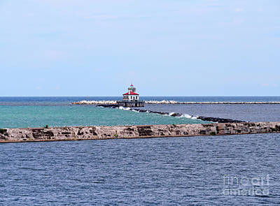 Photograph - Breakwater And Lighthouse In Oswego New York by Louise Heusinkveld