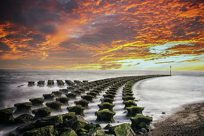Abstract Beach Landscape Photograph - Breakwater Felixstowe by Martin Newman