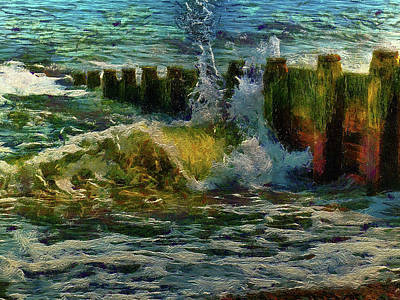 Digital Art - Breakwater by Leigh Kemp