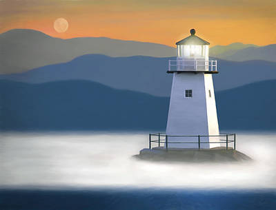 30 X 24 Painting - Breakwater Light by James Charles