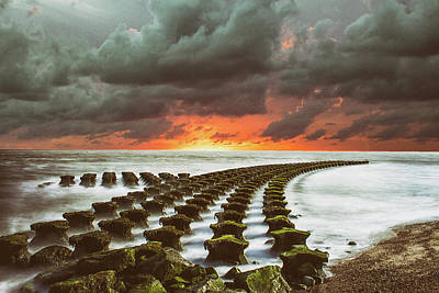 Abstract Beach Landscape Photograph - Breakwater by Martin Newman