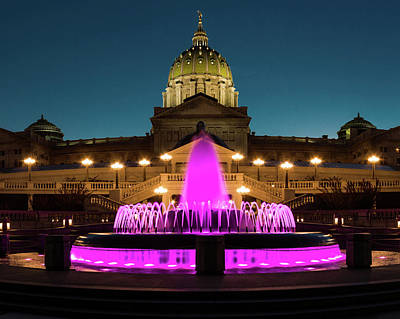 Photograph - Breast Cancer Awareness At The Pa Capitol by Jim Cheney