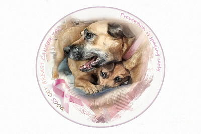 Digital Art - Breast Cancer Awareness In Dogs by Adelita Rog