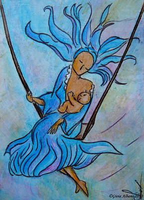 Breastfeeding Everywhere Breastfeeding On A Swing Art Print by Gioia Albano