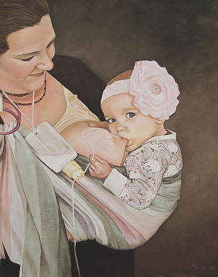 Bonding Painting - Breastfeeding With An Sns by Miriel Smith