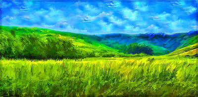 Digital Art - Bright Green Meadow - Marin California by Joel Bruce Wallach