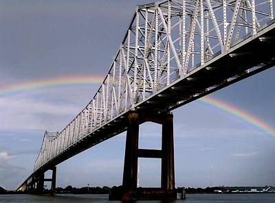 Photograph - Breathtaking Rainbow Connecting Under Thur And Over The Crescent City Connection In New Orleans by Michael Hoard