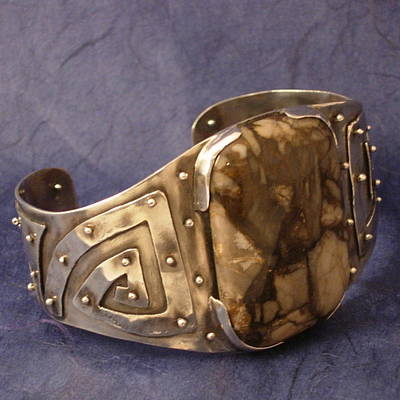 Sterling Silver Bracelet Jewelry - Brecciated Jasper Sterling Silver Cuff Bracelet by Lynette Fast