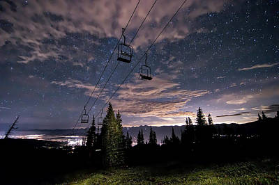 Breckenridge Chairlift Under Stars Art Print