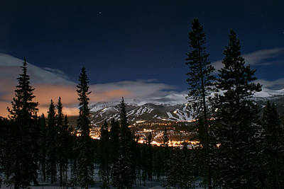 Breckenridge Moon Lit Night Art Print