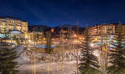 Breckenridge Village Winter Evening Print by Michael J Bauer