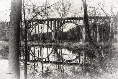 Brecksville _ Northfield Bridge B W Art Print by Michael Rankin