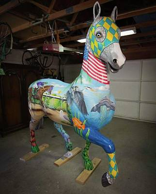 Painting - Breeders Cup Fiberglass Horsefront Right by Tish Wynne
