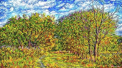 Trippy Digital Art - Breezy Autumn Pathway by Joel Bruce Wallach