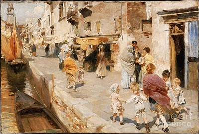 Kids In Venice Painting - Breezy Day In Venice by MotionAge Designs