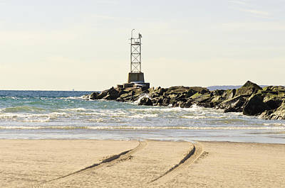 Photograph - Breezy Point Jetty With Tracks by Maureen E Ritter