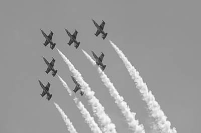 Photograph - Breitling Jet Team  - Black And White by Susan  McMenamin