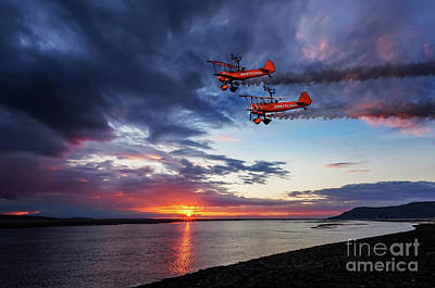 Airshow Photograph - Breitling Wingwalkers Sunset by Adrian Evans