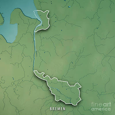 Landscape Digital Art - Bremen Bundesland Germany 3d Render Topographic Map Border by Frank Ramspott