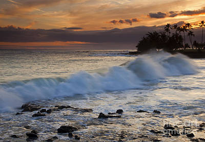 Brennecke Waves Sunset Art Print by Mike  Dawson