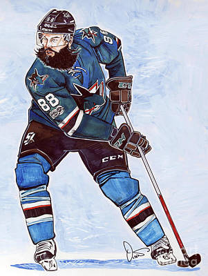 Nhl Hockey Drawing - Brent Burns by Dave Olsen