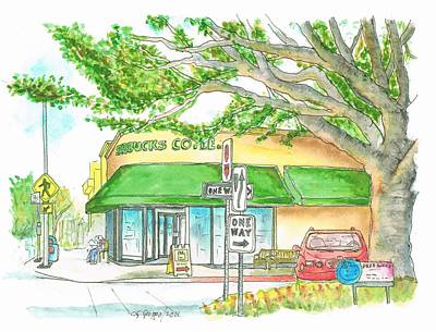 Starbucks Coffee In Brentwood, California Print by Carlos G Groppa