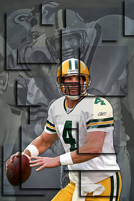 Bret Favre Green Bay Packers Blocks Art Print by Joe Hamilton